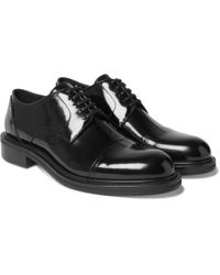 Loewe Cap-toe Polished-leather Oxford Shoes - Black