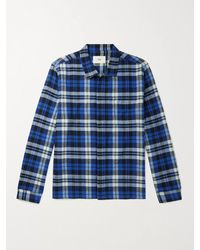 Folk Patch Checked Brushed Cotton-flannel Shirt - Blue