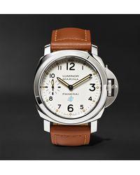Panerai Luminor Marina Logo Acciaio 44mm Steel And Leather Watch - White