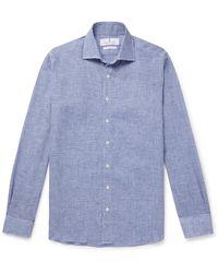 Turnbull & Asser Checked Linen Shirt - Blue
