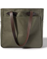 Filson Leather Trimmed Cotton-twill Tote - Green