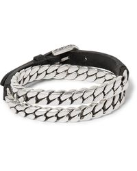 Gucci - Leather And Burnished Sterling Silver Wrap Bracelet - Lyst