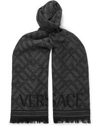 Versace - Fringed Logo-intarsia Wool Scarf - Lyst