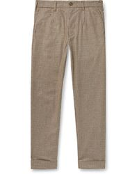 Engineered Garments Andover Tapered Houndstooth Woven Trousers - Brown