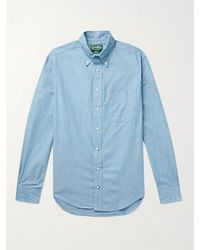 Gitman Brothers Vintage Slim-fit Button-down Collar Cotton-chambray Shirt - Blue