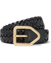 Tom Ford 2.5cm Woven Leather Belt - Black