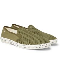 Rivieras Canvas And Cotton-mesh Espadrilles - Green