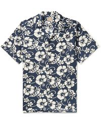 Go Barefoot Pareau Camp-collar Printed Cotton Shirt - Blue