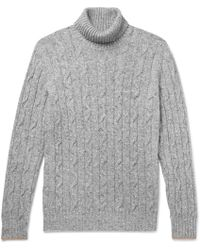 Brunello Cucinelli - Contrast-tipped Mélange Cable-knit Rollneck Sweater - Lyst