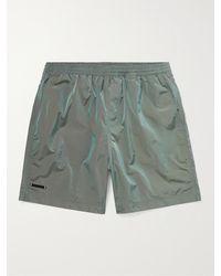 True Tribe Neat Steve Mid-length Iridescent Checked Econyl Swim Shorts - Green