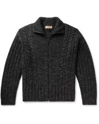 Burberry - Cable-knit Mélange Cashmere, Wool And Mohair-blend Zip-up Cardigan - Lyst