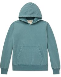 Remi Relief Loopback Cotton-jersey Hoodie - Blue