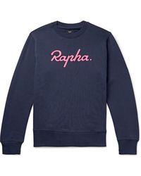 Rapha Logo-embroidered Fleece-back Cotton-jersey Sweatshirt - Blue