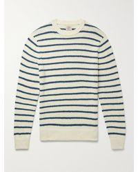 Faherty Striped Organic Cotton Jumper - Blue