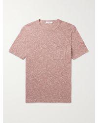 MR P. Mélange Cotton And Linen-blend T-shirt - Pink