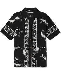 Neighborhood Aloha Camp-collar Printed Voile Shirt - Black