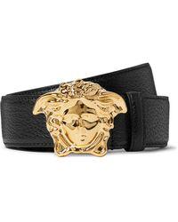 Versace 4cm Black Full-grain Leather Belt