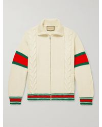 Gucci Striped Cable-knit Wool Zip-up Cardigan - Multicolour