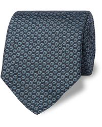Dunhill 8cm Printed Mulberry Silk Tie - Blue