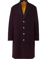 Gucci Logo-jacquard Wool-blend Coat - Blue