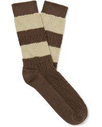 Thunders Love Link Striped Egyptian Cotton-blend Jacquard Socks - Brown