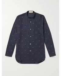 SMR Days Grandad-collar Embroidered Linen Shirt - Blue