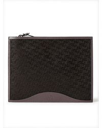 Christian Louboutin Logo-jacquard Coated-canvas And Full-grain Leather Pouch - Brown