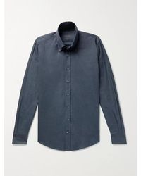 Thom Sweeney Slim-fit Button-down Collar Cotton-flannel Shirt - Blue