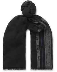 Berluti Silk, Wool And Cashmere-blend Jacquard Scarf - Black