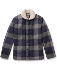 Golden Bear - The Cooper Shearling-trimmed Checked Wool Jacket - Lyst