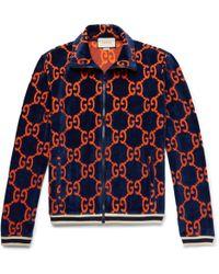 Gucci Cotton Devoré-velvet Track Jacket - Blue