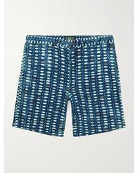 RRL Sands Printed Cotton-seersucker Shorts - Blue