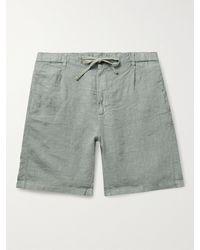 Hartford Tank Pleated Linen Drawstring Shorts - Green