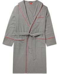 Isaia Piped Cotton And Cashmere-blend Twill Robe - Grey