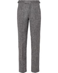 Anderson & Sheppard Mélange Wool Trousers - Grey