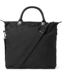 Want Les Essentiels De La Vie O'hare Leather-trimmed Organic Cotton-canvas Tote Bag - Black