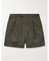 Beams Plus Pleated Printed Twill Shorts - Green