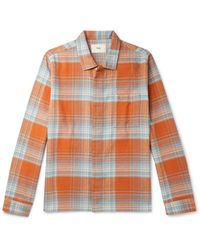 Folk Patch Checked Cotton Shirt - Orange