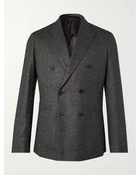 Paul Smith Double-breasted Birdseye Mélange Wool Blazer - Grey
