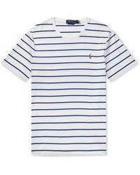 Polo Ralph Lauren Logo-embroidered Striped Interlock Cotton T-shirt - White