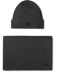 BOSS Ribbed Cotton And Wool-blend Beanie And Scarf Set - Gray