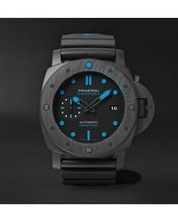 Panerai Submersible Automatic 47mm Carbotech And Rubber Watch - Black