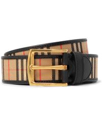 Burberry - 3.5cm Tan Leather-trimmed Checked Twill Belt - Lyst
