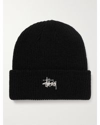 Stussy Logo-embroidered Knitted Beanie - Black