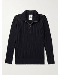 S.N.S. Herning Fang Iv Ribbed Virgin Wool Half-zip Jumper - Blue