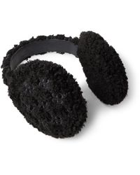 Gucci Leather-trimmed Monogrammed Faux Shearling Ear Muffs - Black
