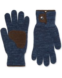 Oliver Spencer - Denford Suede-trimmed Mélange Wool-blend Gloves - Lyst