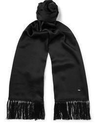 Saint Laurent Fringed Silk Scarf - Black