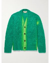 Marni Painted Mohair-blend Cardigan - Green