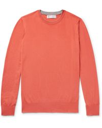 Brunello Cucinelli - Contrast-tipped Virgin Wool And Cashmere-blend Sweater - Lyst
